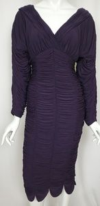 Sue Wong Purple Ruched Long Sleeve Bodycon Dress